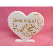 12mm White corian Best mum heart
